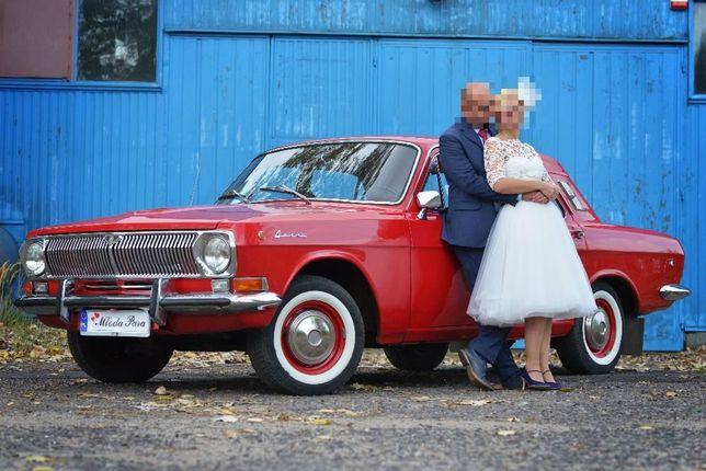 auto do ślubu/rocznica ślubu/uroczystosci czerwona wołga