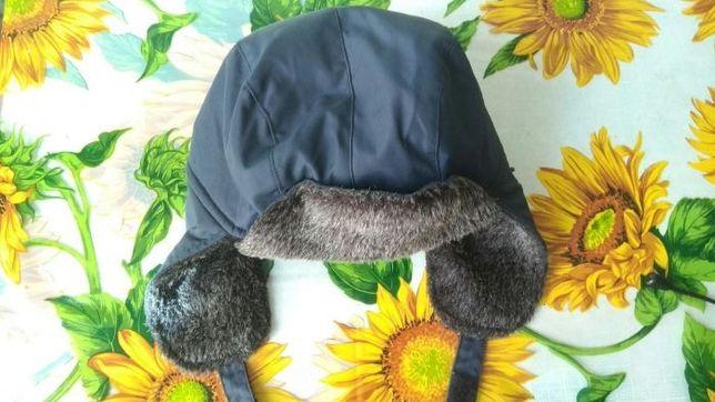 Детская фирменная шапка флисовая, утеплённая на мальчика. 50 - 54 см.