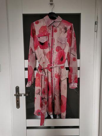 Sukienka szyfonowa delikatna elegancka w kwiaty róż puder 36/38
