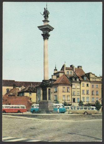 pocztówka - Warszawa 1969 - Kolumna Zygmunta III Wazy - autobusy