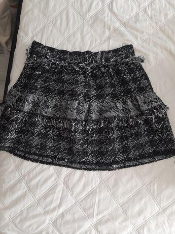 Spódnica gruby materiał ZARA bawełniana spódniczka krótka jesienna