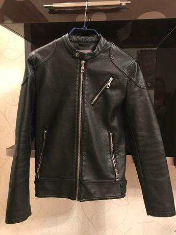 Черная куртка из искусственной кожи для подростка, ZARA