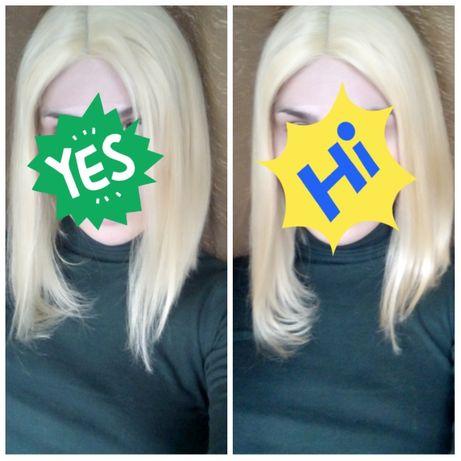 Натуральный парик// супер блонд 30 см