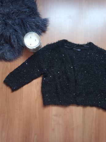 Czarny sweter kardigan krótki cekiny Atmosphere  38 M
