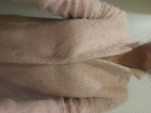 Płaszcz płaszczyk pudrowy róż alpaka