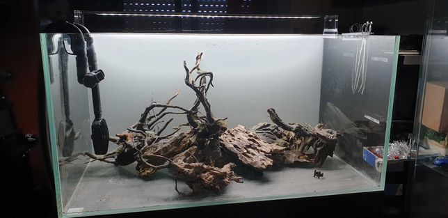 conjunto aquario 250L vidro extra claro+ movel+ calha led+ filtro