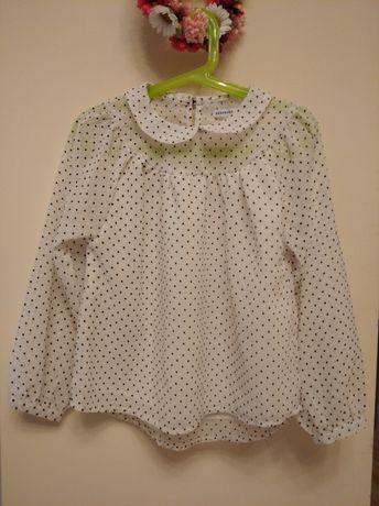 Bluzka koszula elegancka dla dziewczynki z kołnierzykiem w kropeczki