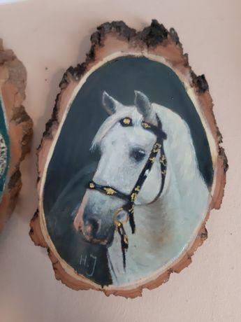Malowane Na Krążku Drewna Koń Łeb Konia 19 x 12 cm