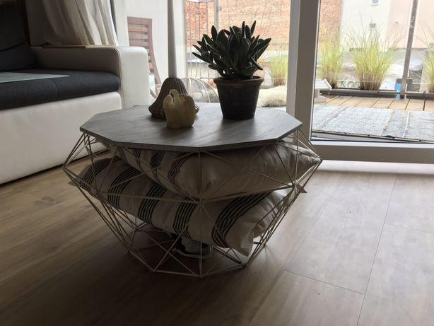 Stol stolik kawowy kosz, bialy, deska 63 cm salon
