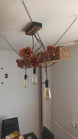 Lampa Loft Handmade Drewno Miedź
