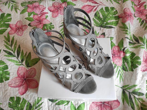 Sandały szpilki Catwalk 38 szare srebrne