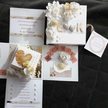 Prezent ślubny pudełko prezentowe exploding box z życzeniami pamiątka