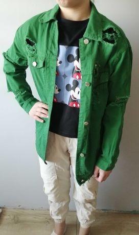 Długa kurtka jeansowa w kolorze soczystej zieleni S :) Nowa z metką!