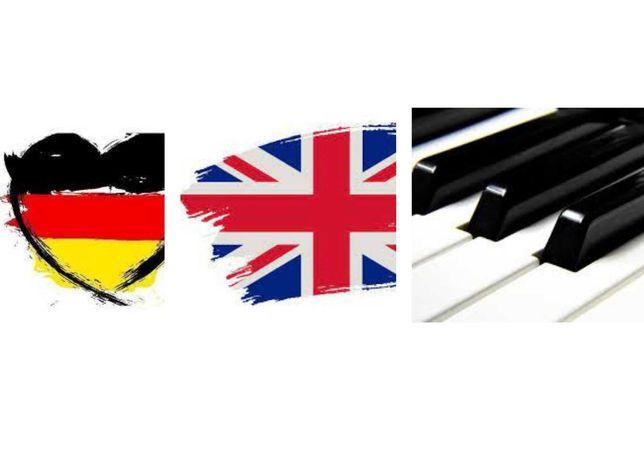 Wymień język - Angielski -> Niemiecki -> pianino->taniec