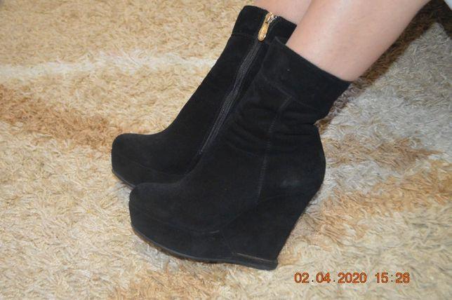 Шикарные ботиночки с натур.замши 37р.(24см)