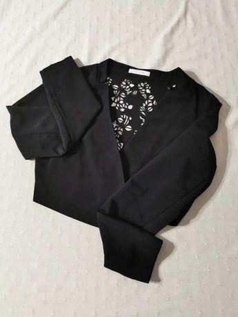 Bolerko żakiet czarny z ażurowym wycięciem na plecach M