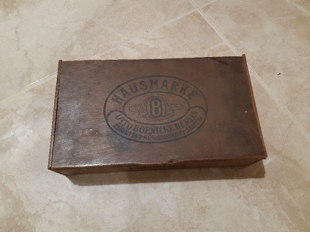 Drewniane pudełko po cygarach firmy Otto Boenicke Berlin