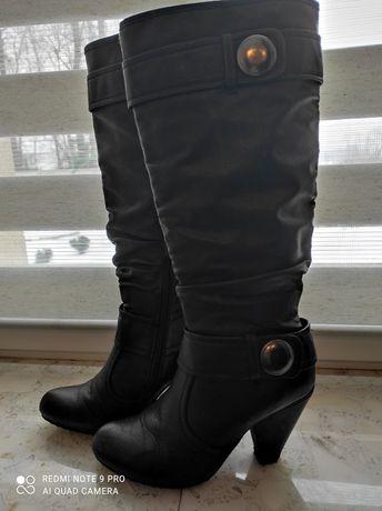 Czarne buty zimowe rozmiar 38