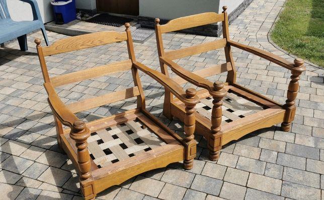Rustykalny drewniany komplet wypoczynkowy - dwa fotele i kanapa