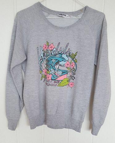 Szara bluza z nadrukiem New Look S 36 s 164 170 bawełna lato plaża