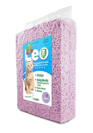 Żwirek Leo o zapachu Lawendy. Zbrylający, żwirek tofu.