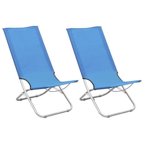 vidaXL Cadeiras de praia dobráveis 2 pcs tecido azul 310374