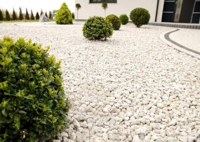Kamień ogrodowy dekoracyjny biały workowany