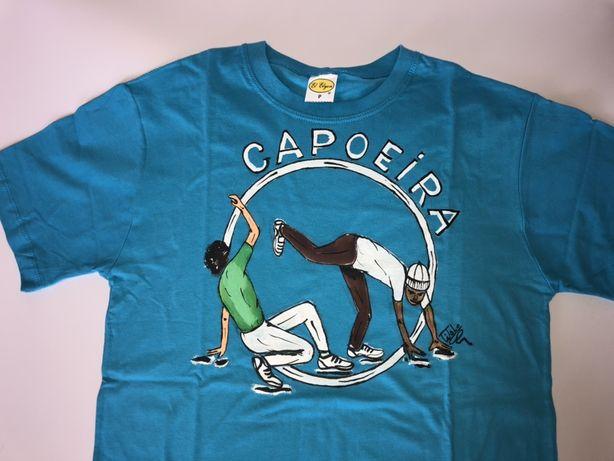 Koszulki Capoeira T-shirt ręcznie malowane z Brazylii. Rozmiar S