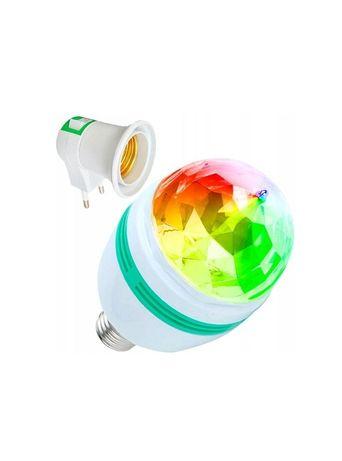 Żarówka projektor obrotowa disco LED RGB 9W +adapter 230V