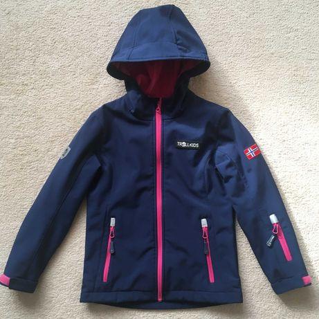 Куртка для девочки, Softshell  TROLLKIDS (Норвегия) 128 cm. 7-8 лет