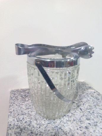 Frapé de vidro com pinça (balde para gelo)