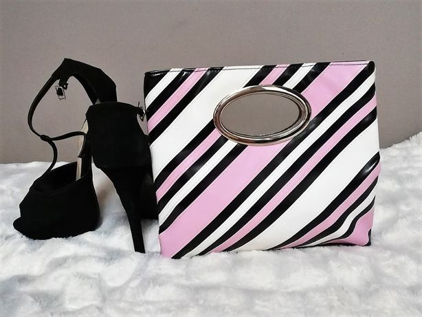 torebka kolorowa czarna różowa biała