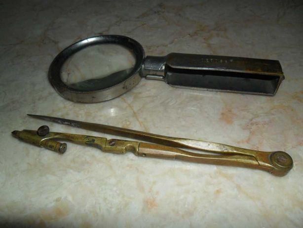 Compasso de bronze ( 15 eur ) e lupa de metal, antigos