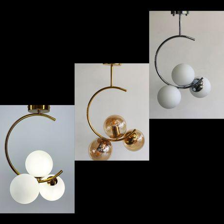 Люстра на три лампочки в стиле модерн Скандинавия полумесяц