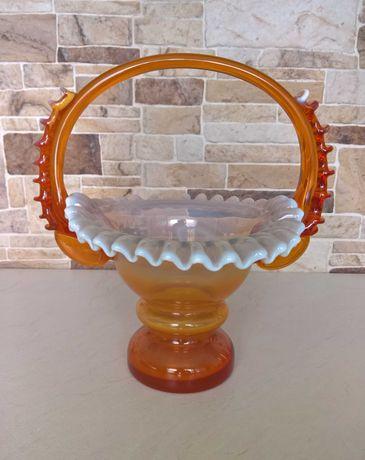 Szklany koszyk dekoracyjny wazon PRL