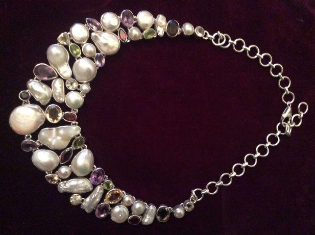 Srebrna kolia ręczna praca oprawy kamieni szlachetnych i masy perłowej