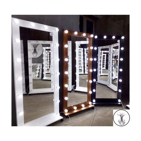 Гримерное зеркало с лампочками, стойки с лампочками