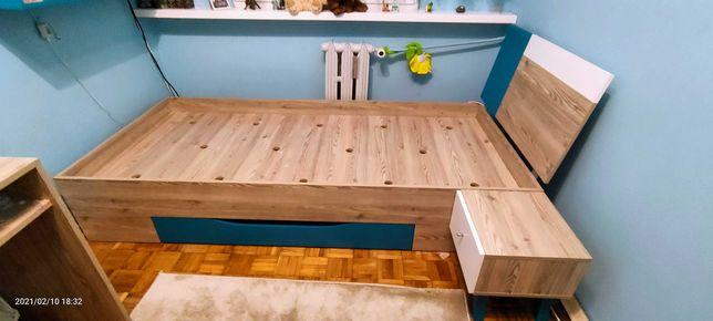 Łóżko młodzieżowe sypialniane z szufladą na pościel i szafką nocną