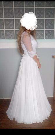 suknia ślubna roz.40 hit francuska koronka i muslin