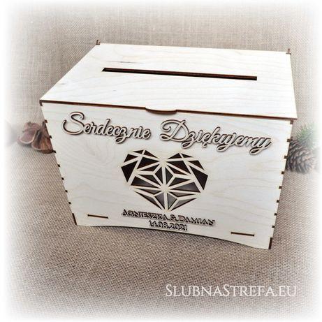 Pudełko skrzynka na pieniądze koperty ślub wesele drewno