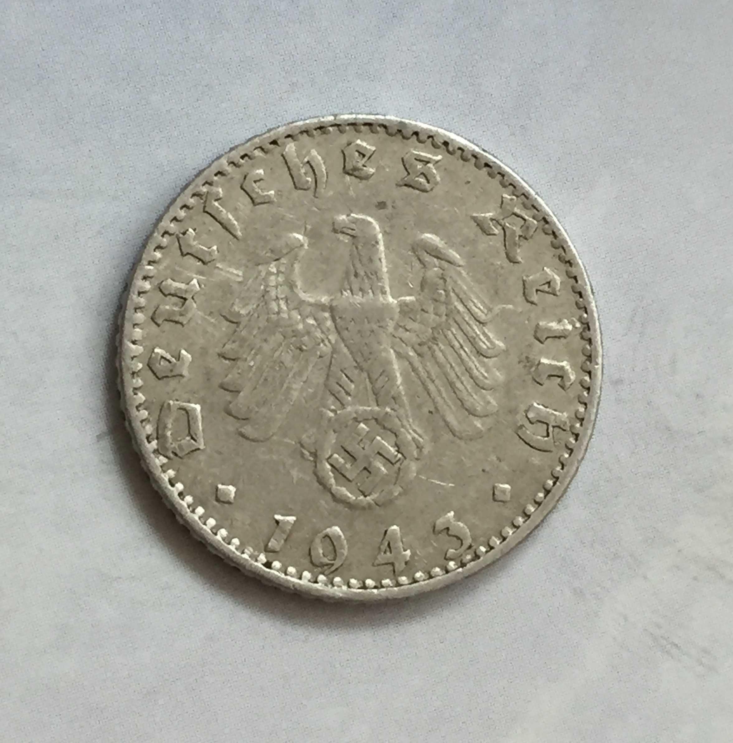 Alemanha nazi 50 reichspfennig 1943-J, Alumínio - swastika