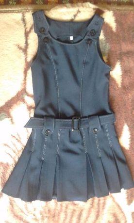 Школьная форма для девочки (р.122) (сарафан и пиджак) (синяя)