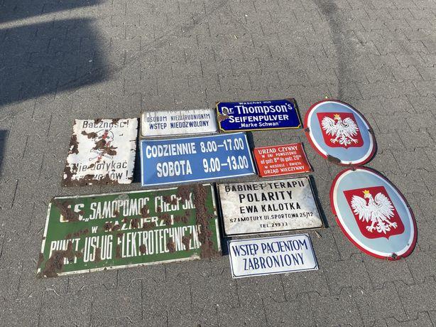 Stare emaliowane szyldy, reklama, PRL, industrial