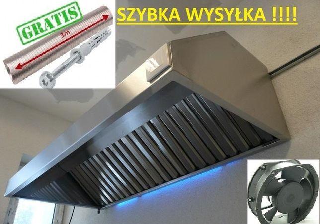 Okap Gastronomiczny 2500x700x400 Wentylator FILTRY Rura 3m Wysyłka