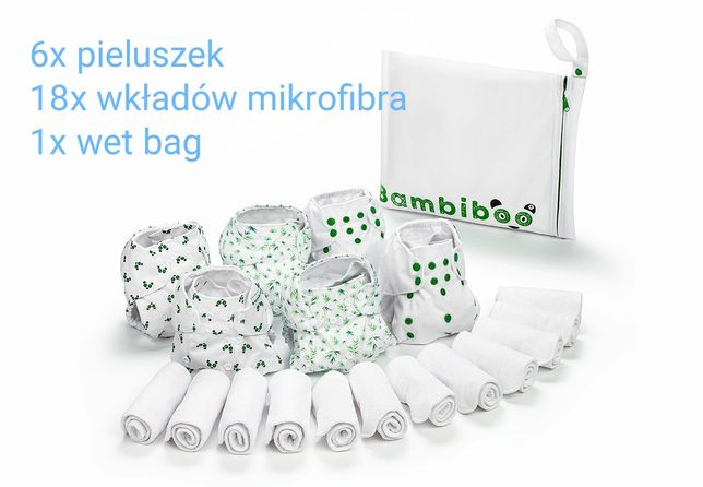 Pieluszka wielorazowa otulacz wełniany wkłady BAMBINOO raz dwa trzy