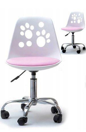 Fotel dziecięcy obrotowy biało różowy