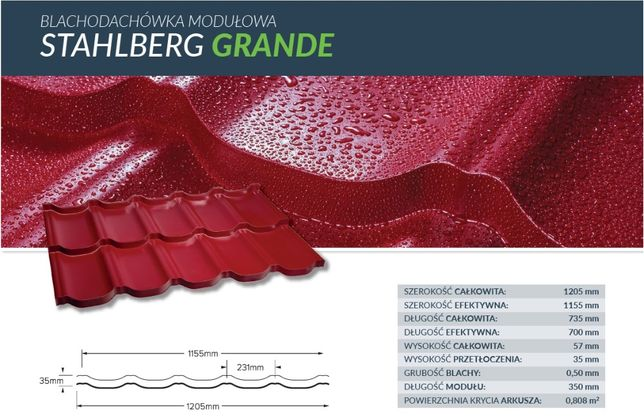 Blachodachówka modułowa Stahlberg GRANDE mat