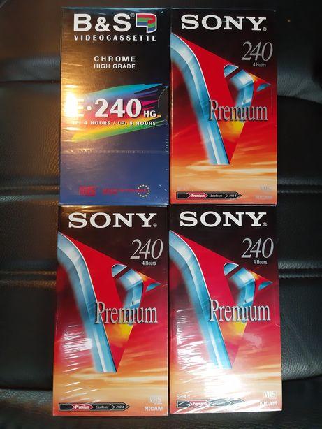 Kasety VHS 4 szt. Nowe.