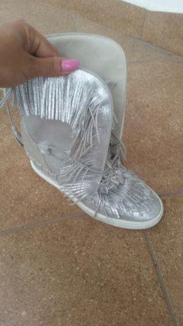 Sneakersy koturny skóra naturalna srebrne 37 polański, l'estrosa