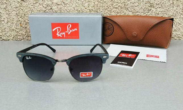Ray Ban очки модные темно серые оправа и дужки под дерево